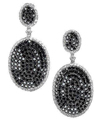 Black Diamond Oval Drop Earring