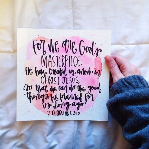 2 Ephesians 2:10 Watercolor Print by HuesOfGrace on Etsy