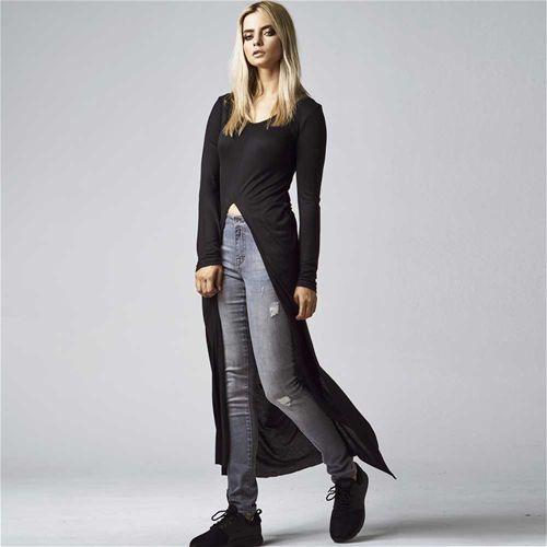 X-long slit dames shirt met lange mouwen en split zwart