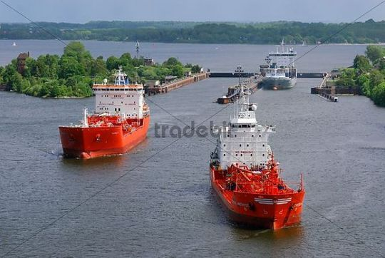 tankships after passing the lock in Kiel-Holtenau Kiel Canal Schleswig-Holstein Germany