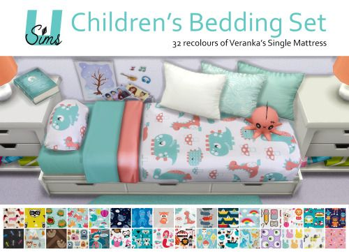 The Sims 4   unobservantsims 32 'childish' bedding recolours of the ...