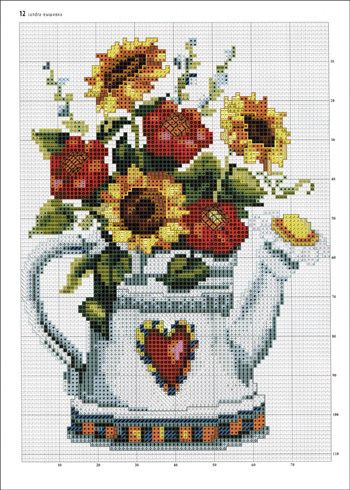 Cross-stitch Country Flowers <3 ... no color chart available, just use pattern chart as your color guide.. or choose your own colors...