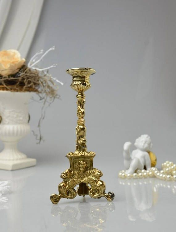 Stunning Flower NEW ITEM Bronze Dollhouse Miniature Candle Centerpiece