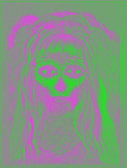 ART  alba MariJane 2002 jh,My selfie*portrait, Bar perokresba, reprofoto:@ johanahajkova  upraveno