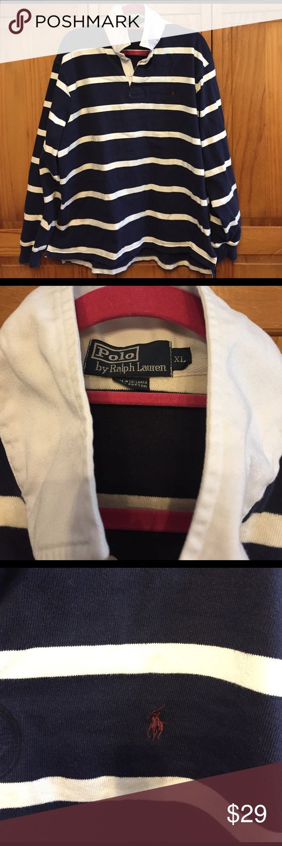 Classic Ralph Lauren striped rugby shirt Men's rugby shirt in very good used condition Polo by Ralph Lauren Shirts Polos