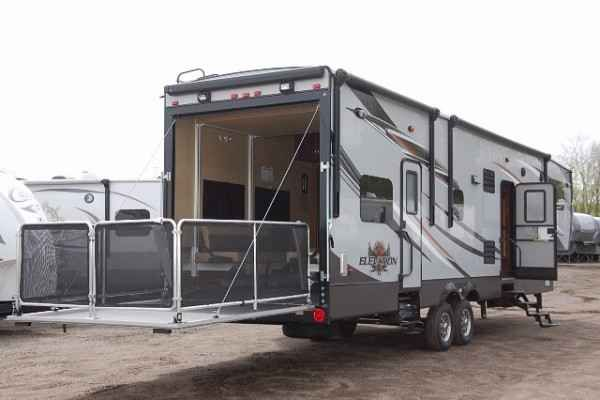 """2015 New Crossroads Elevation Richmond F3412 Toy Hauler in Michigan MI.Recreational Vehicle, rv, 2015 CrossRoads Elevation Richmond F3412, Free Shipping First 1,000miles Only $461.19 per month with approved credit! Forget what you know about """"toy haulers"""". The elevation is not just for those who haul quads, dirt bikes, and motorcycles. Smart design and floorplan innovation enable Elevation to excel at delivering multi-zone living, sophistication and your own personal style, wether you are a…"""