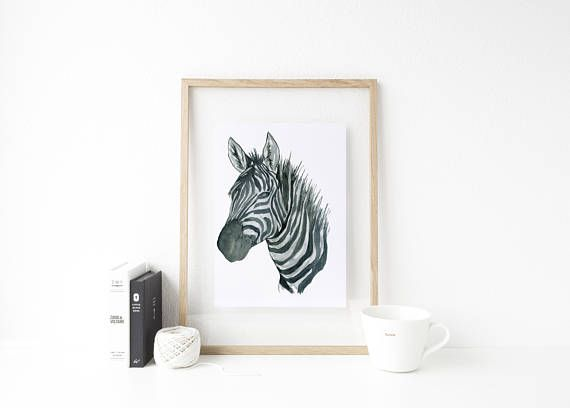 Zebra Print - Baby Room Decor - Zebra Decor - Animal Art Prints - Animal Pictures for Nursery - Watercolor Animal Prints -
