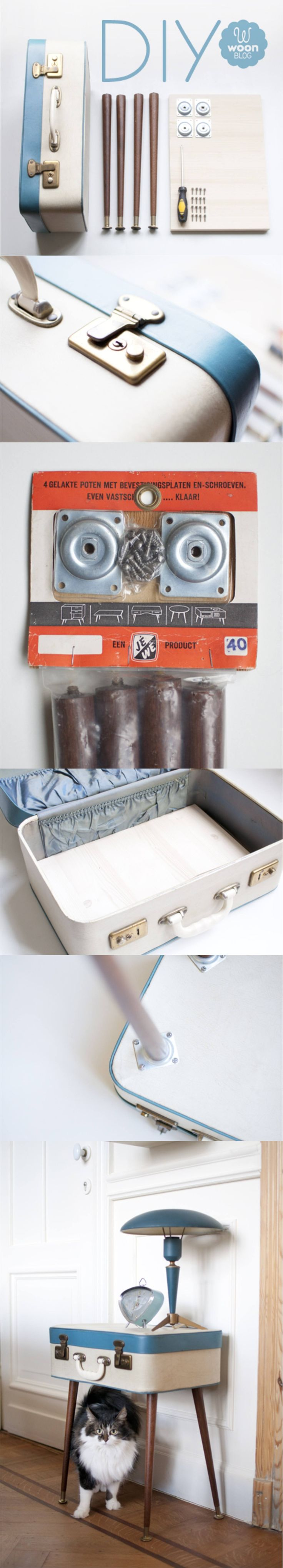 Mesa DIY reutilizando maleta - woonblog.typepad.com - DIY Suitcase Table