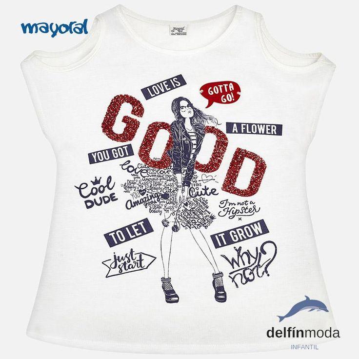 Camiseta de niña manga corta MAYORAL con efecto brillante hombros al aire