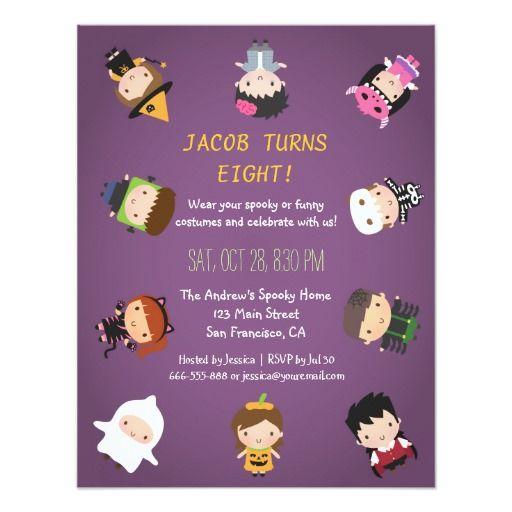 Kids Halloween Costume Birthday Party Invitations