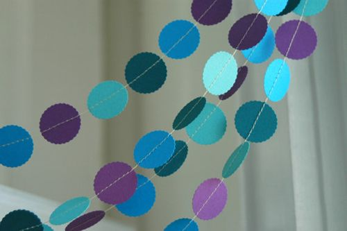 peacock pallette, hole punch DIY bunting