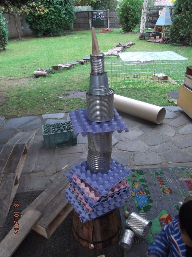 Using Loose parts to build a rocket at Chadwell Preschool (The joys of open ended resources)