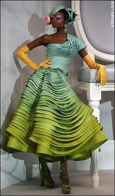 Christian Dior Haute Couture Spring 2007: John Galliano, Fashion, Origami Dress, Style, Christian Dior, Color, Green, Dresses, Haute Couture