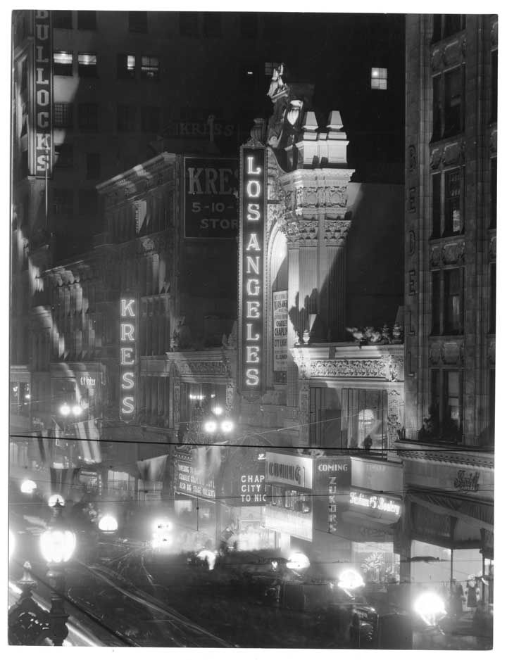 The Los Angeles Theater at night, on Broadway in downtown L.A., 1931.