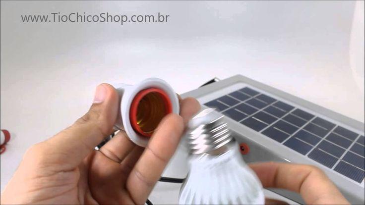 Kit Placa Solar + 2 Lampadas de Led bateria recarregável - TioChicoShop