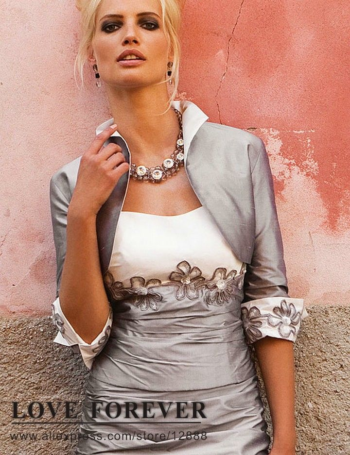 Silver Mother of the Bride   ... White and Silver Taffeta Mother Of The Bride Dress With Jacket 2013