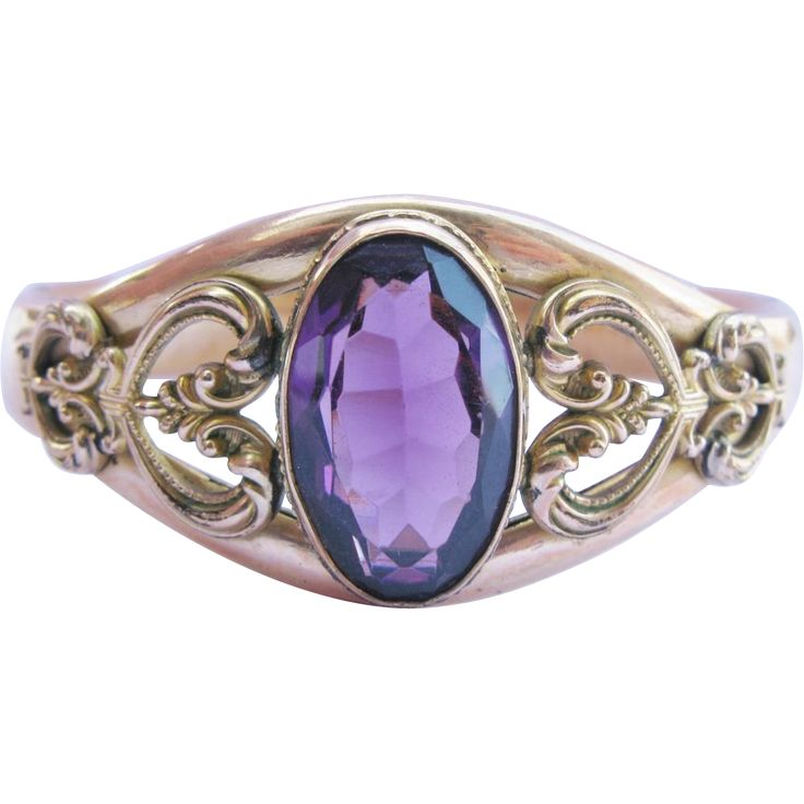 Antique Amethyst Paste Gold Filled Hinged Bangle Bracelet from Tannery Creek Antiques on Ruby Lane!