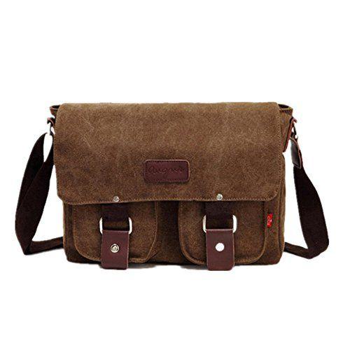 6e43ad5e6686 Techecho Simple Retro Zip Canvas Briefcase Shoulder Bag Messenger ...