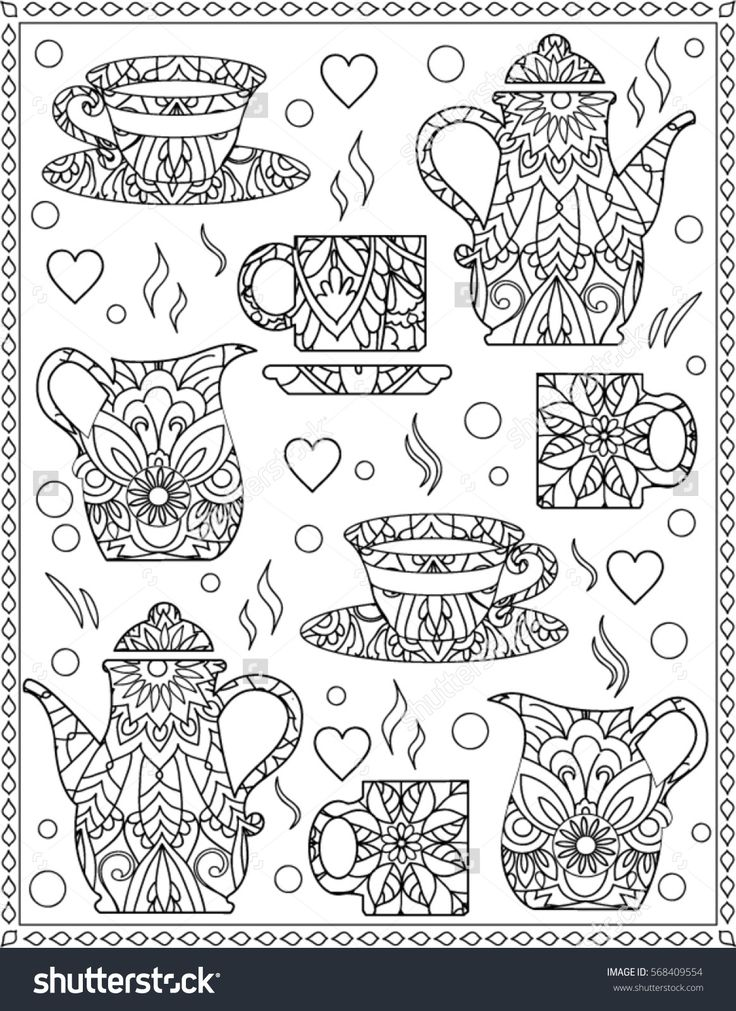 Coloring Page With Coffee Cups Coffee Tea Coloring