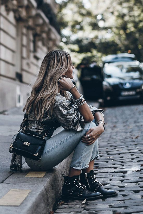 Metallic long sleeve top, straight jeans, black studded booties, black shoulder bag - Fall outfits, fall fashion trends 2017, fall fashion, street style, trendy outfits, casual outfits, comfy outfits, dinner outfits.