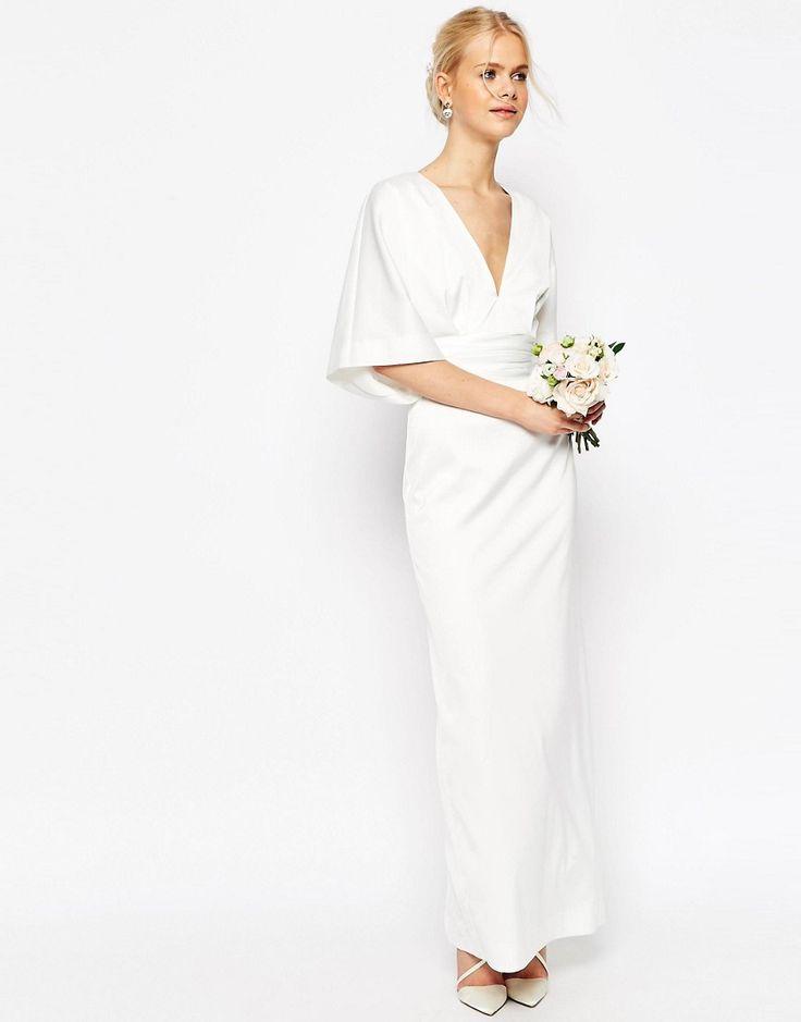 Image 1 ofASOS BRIDAL Kimono Deep V Fishtail Maxi Dress