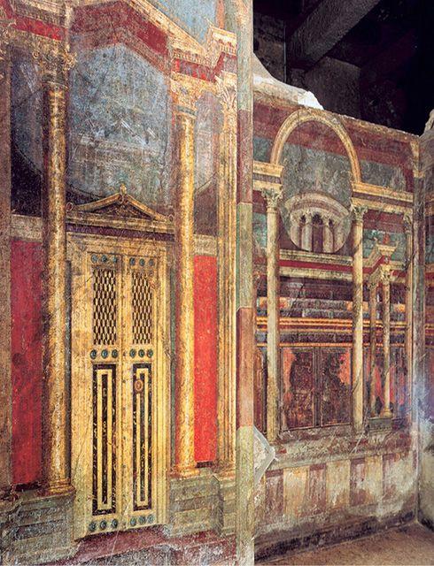 """***Fresco de la Villa de los Misterios """"estilo arquitectónico"""" (S.I a.C.) Pompeya."""