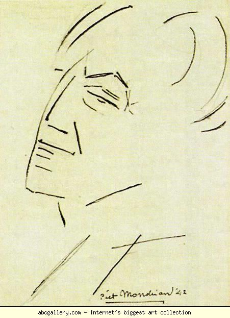 Piet Mondrian. Self-Portrait. / Zelfportret. 1942. Pencil and ink on paper. 29.8 x 22.8 cm. Private collection.