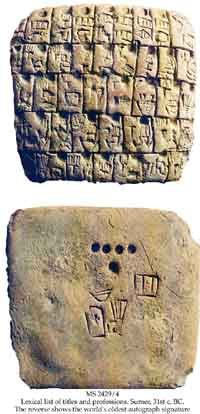 The Earliest Autograph Signatures (Circa 3,100 BCE)    A pictographic list of titles and professions in ancient Sumeria (top), with the scribe's signature on the reverse side (bottom.) (View Larger)    Pictographic lexical lists written in ancient Sumerian pictographic script on clay tablets are the earliest literature known, and also the earliest known evidence of school and learning.