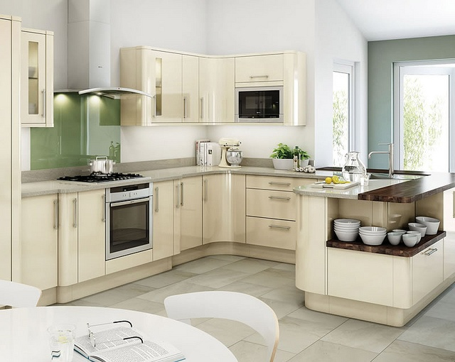 An Avant Ivory High Gloss Kitchen Design Idea. Http://www.diy