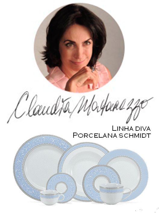 Porcelana Schmidt , lança Linha Diva , assinada por Claudia Matarazzo
