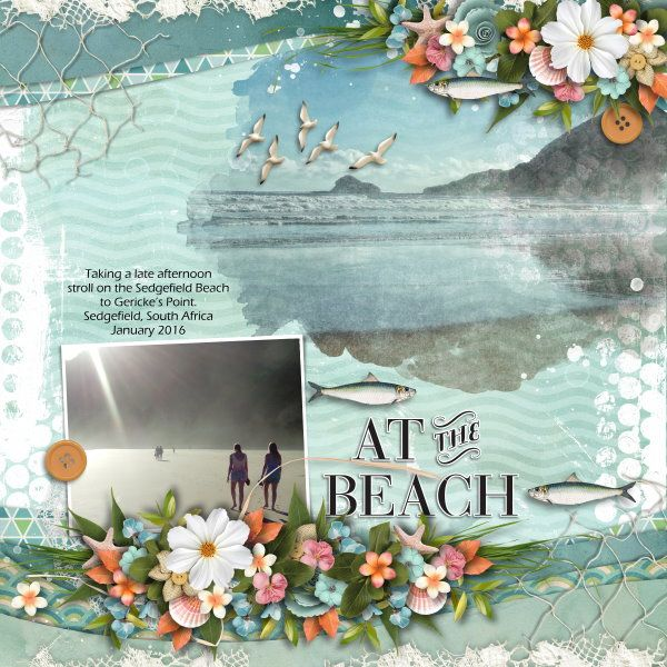 Collab Kit and Template At The Seaside by Heartstrings Scrap Art and Aimee Harrison Designs. Photos mine.