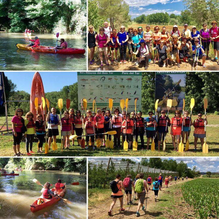 Combinada de marxa nòrdica i caiac seguint el curs del riu Ter des de Colomers a Verges, Baix Empordà, Girona.