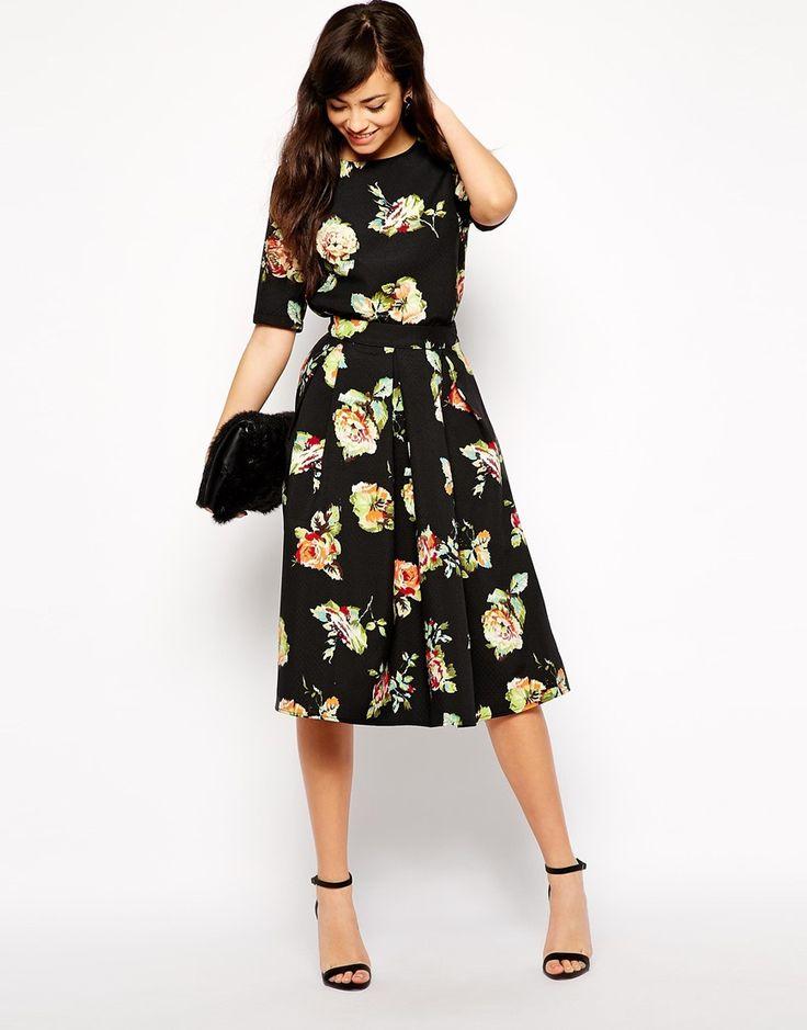 New Look Floral Print Pleated Midi Skirt