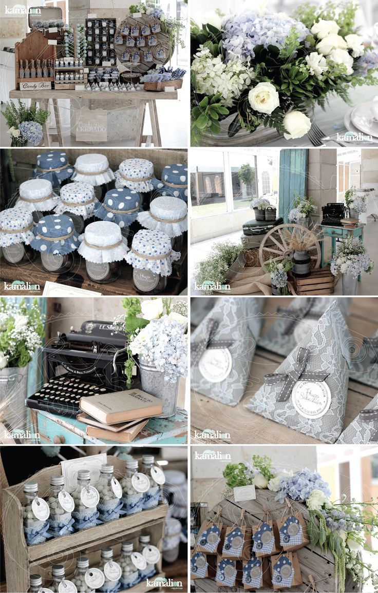 www.kamalion.com.mx - Boda / Wedding / Country / Rustic / Azul & Gris / Blue & Gray / Decoración / Decor / Candy Bar / Centros de Mesa / Centerpiece.: