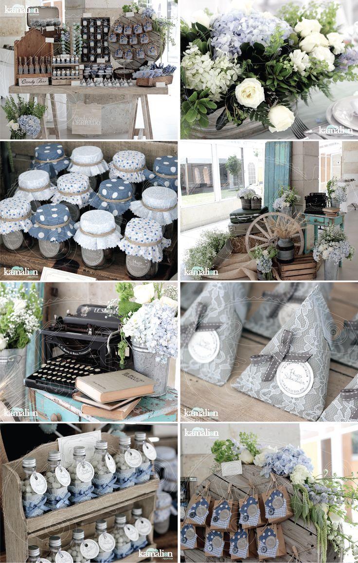 www.kamalion.com.mx - Boda / Wedding / Country / Rustic / Azul & Gris / Blue & Gray / Decoración / Decor / Candy Bar / Centros de Mesa / Centerpiece.: