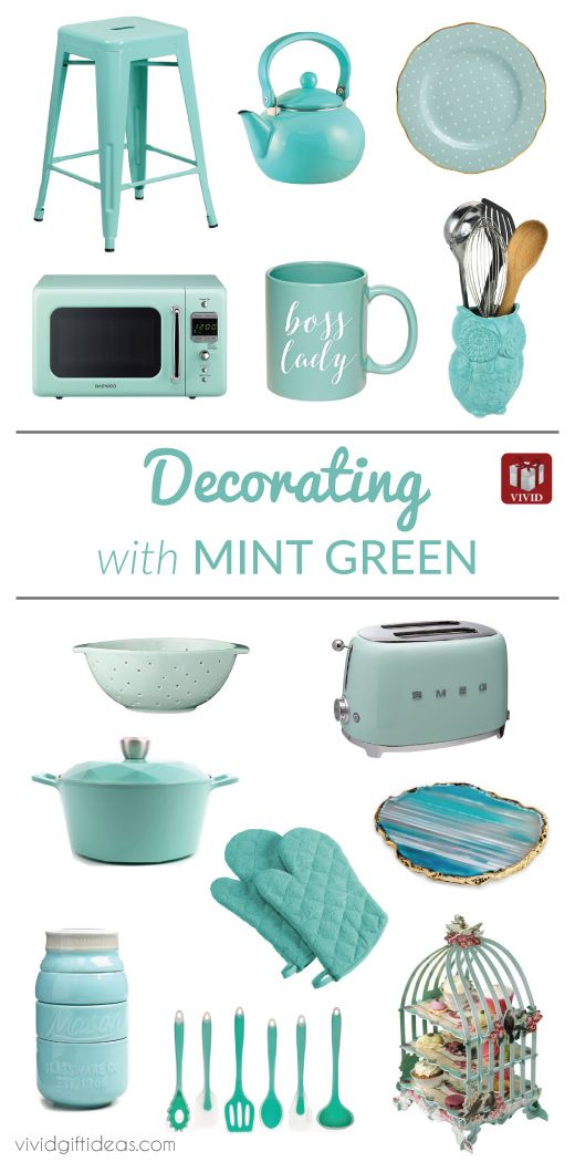 Decorate your kitchen with refreshing mint green color. See here for 15 Mint Green Kitchen Decor Ideas. Kitchen accessories, cookware, appliances all in pretty mint green.