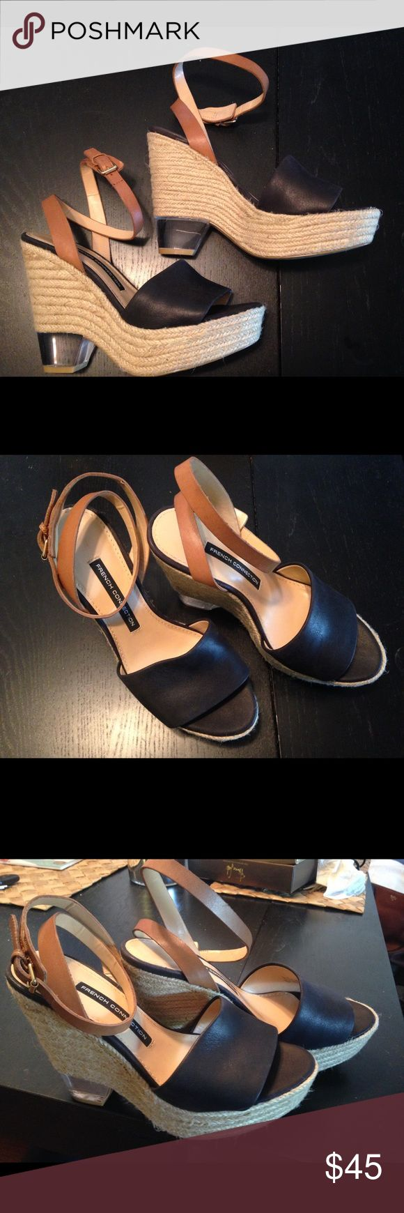 French Connection Wedges - Black and Tan leather Black and Tan leather with a clear heel Unique! French Connection Shoes Wedges