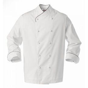 Chaqueta de cocina blanca con detalles negros. De cruce ancho y con un bolsillo en la manga izquierda. Tiene la espalda entallada con costadillos y boca manga. #chaquetas #cocinero #uniformes #cocina #blanca #chefs