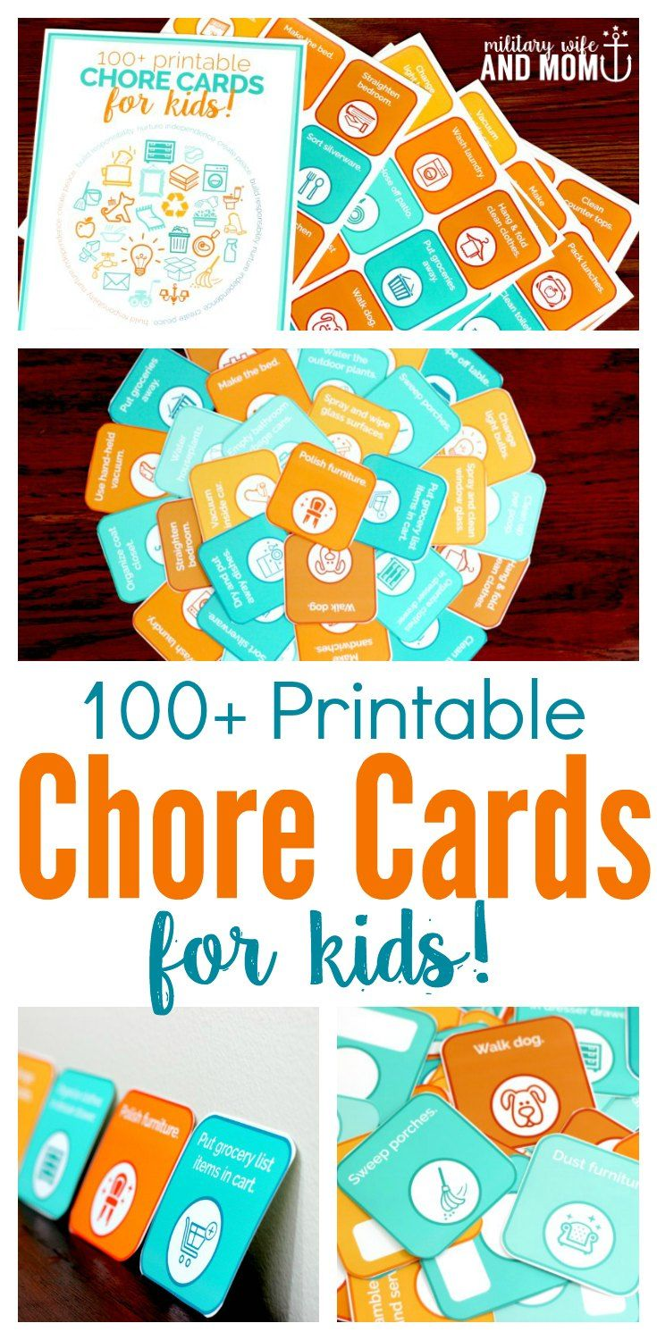Printable chore cards for kids to teach responsibility, independence and hard work. The perfect alternative to chore charts and behavior reward charts. via @lauren9098