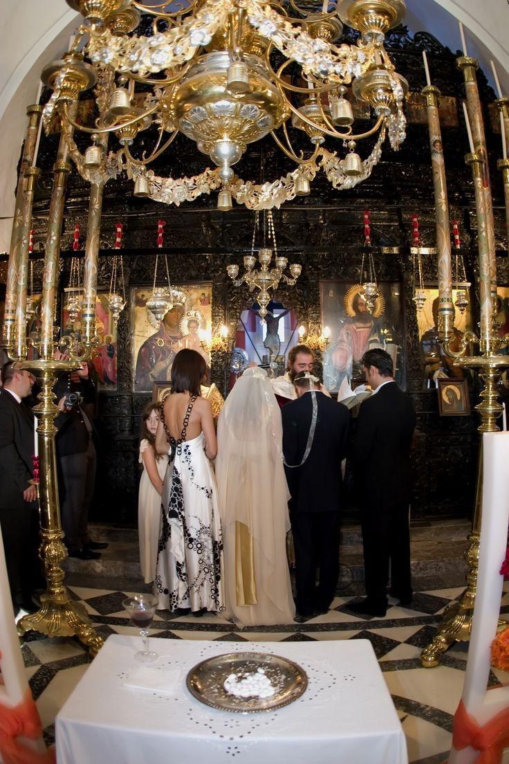 orthodox wedding Pyrgos Santorini Greece Church Gold