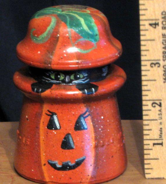 Pumpkin black cat vintage glass insulator hand by KathysKountry, $15.00