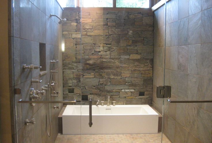 Stone veneer wet room bathrooms pinterest stones for Slate wet room