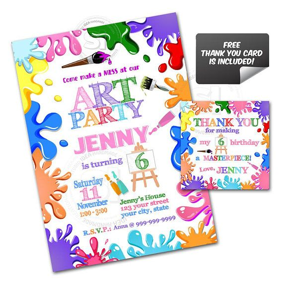 Colorful Art Party Birthday Custom Printable Invitation with