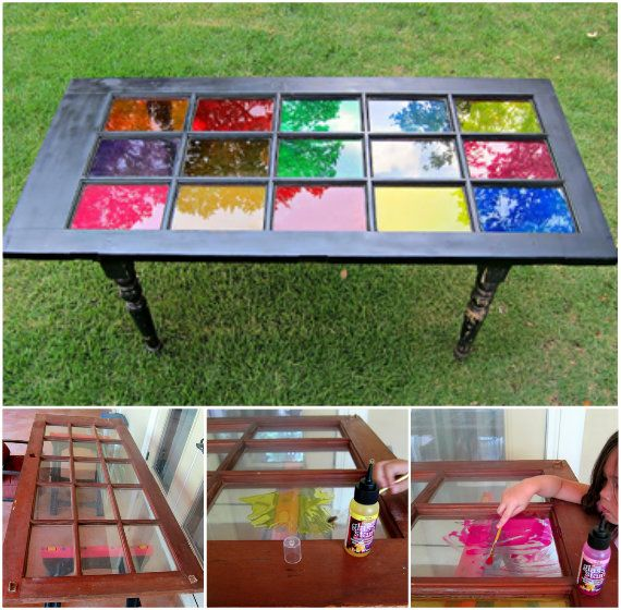 DIY stained glass table