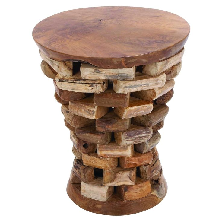 Benzara Round Shaped Teak Wooden Accent Table In Natural