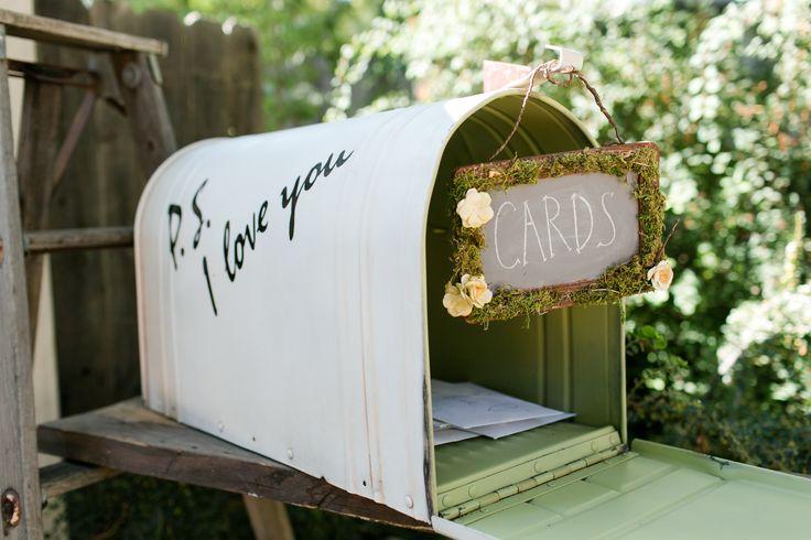 Wedding Card Mailbox - An old mailbox makes a cute card holder for an outdoor wedding.