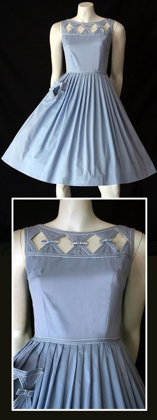 Delightful original vintage 1950s blue cotton dress by Kerrybrooke.