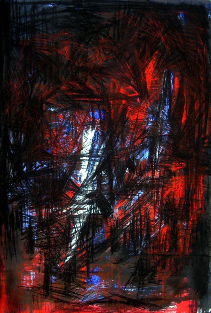 Le bas-monde à son rythme propre. Encre et pastel, 47x67 cm. 2011.