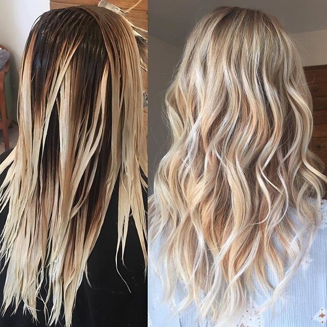 Application when transitioning from foils to balayage. I always use a demi at the root to help blur the lines. I added babylights around the hairline for a pop! #KellyMassiasHair