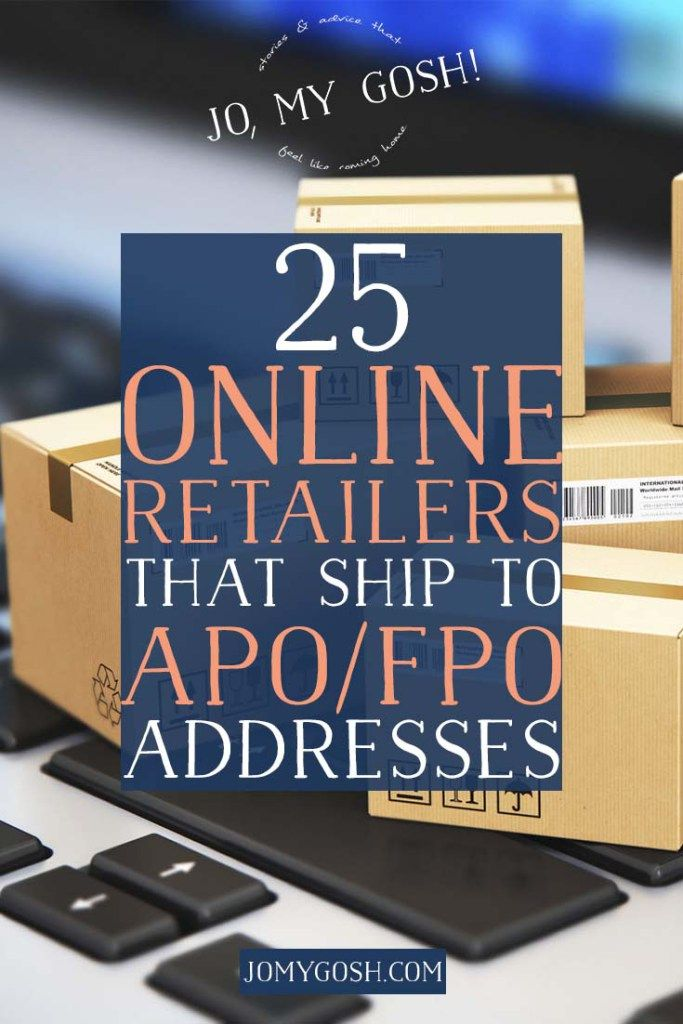 Useful list of online retailers that ship to APO/FPO addresses along with links to policies. Perfect for OCONUS PCSing and shipping for deployments.
